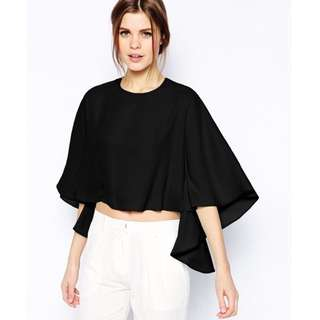 Cropped Black Waterfall Blouse