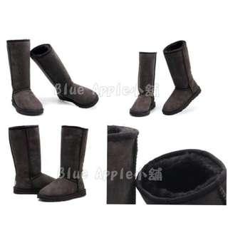 【Anna】牛皮羊毛~真皮5815高筒 雪靴(巧克力色)《2雙免運》UGG太陽花底