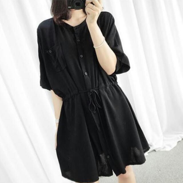 韓系簡約抽繩雪紡襯衫,特價:390