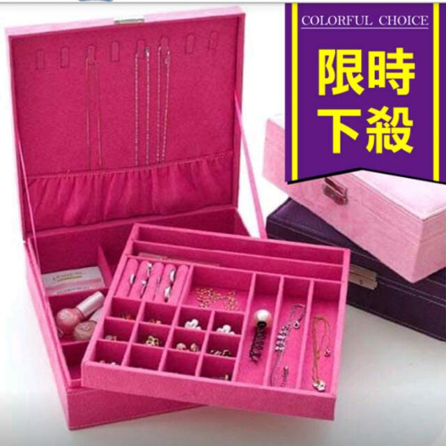 便宜求售💪化妝盒首飾盒公主鹿皮絨歐式木質 韓國 飾品展示盒(粉色)