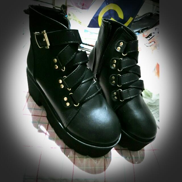 厚底 短靴 鞋 黑