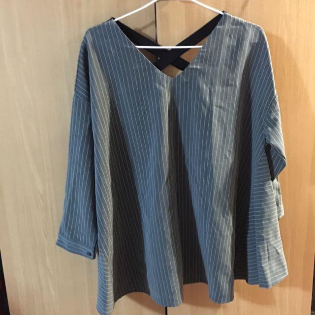 🇰🇷(全新)正韓 灰色v領條紋小洋裝