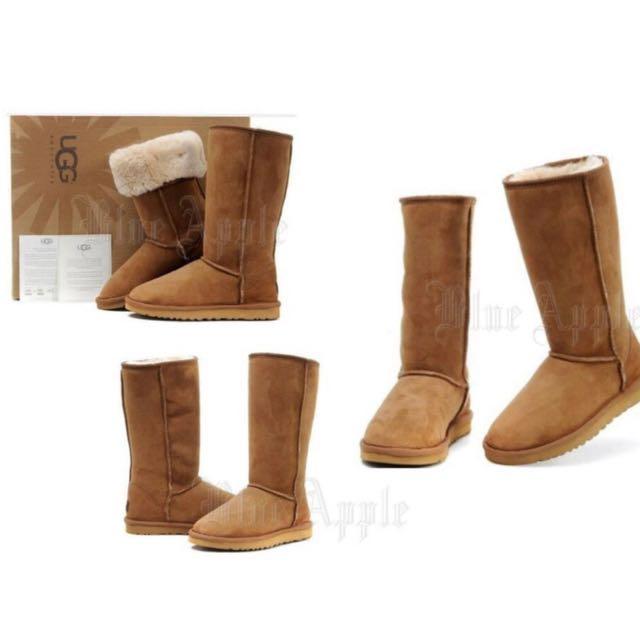 【Anna】牛皮羊毛~真皮5815高筒 雪靴(栗子色)《2雙免運》UGG太陽花底