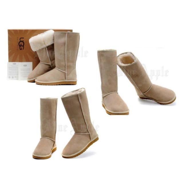 【Anna】牛皮羊毛~真皮5815高筒 雪靴(米色)《2雙免運》UGG太陽花底