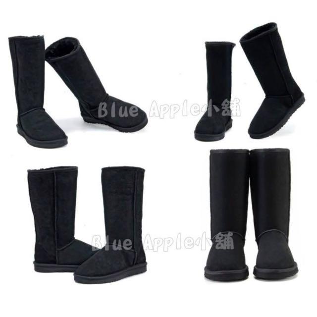 【Anna】牛皮羊毛~真皮5815高筒 雪靴(黑色)《2雙免運》UGG太陽花底