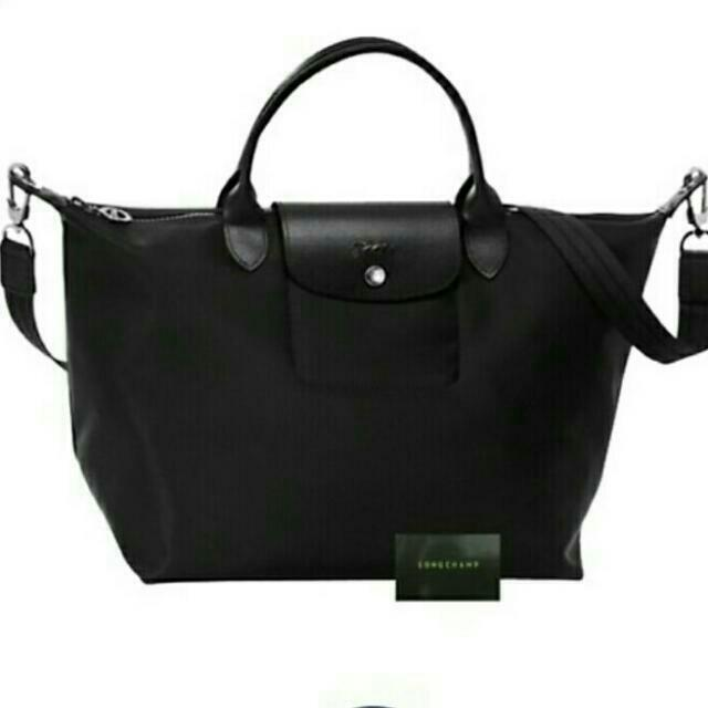 95dc26793d Carousell의 Black Canvas Longchamp sling M, Luxury