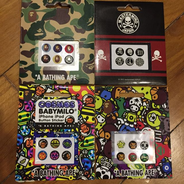 iPhone Home Button 3d Sticker Mastermind / Bathing Ape / Baby Milo, Electronics on Carousell
