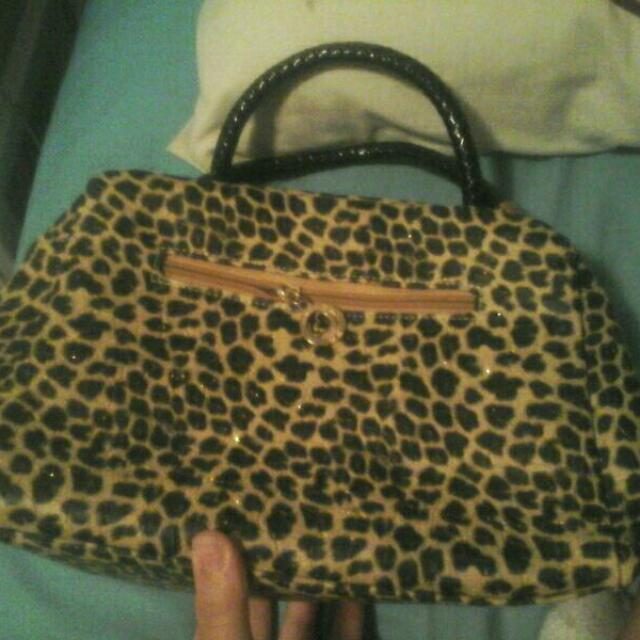 Leopard Print Hand Bag With Black Back