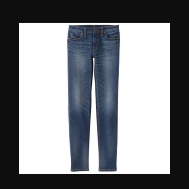 MUJI無印良品女生窄版褲藍色25腰-免運費