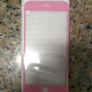 Apple IPhone6+(5.5)桃色正面鋼化玻璃膜