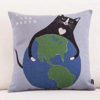 全新黑貓愛地球加厚棉麻抱枕45*45(含A級枕心&精美提袋)