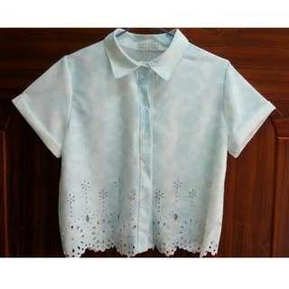 (保留)Popcorn夏季短版水藍上衣