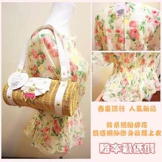 《全新現貨》春夏流行人氣新品 韓系繽紛碎花質感網紗修身收腰上衣 指定款免運✨