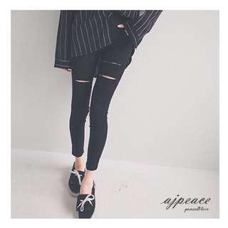 Ajpeace激瘦剪破小腳褲👖(黑色)