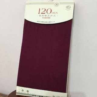 紫紅色彈性厚褲襪