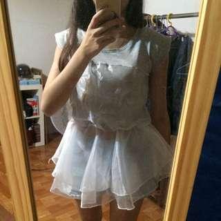 韓國縮腰拼接上衣(棉跟雪紡)