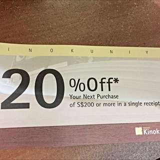 20% off Kinokuniya Voucher for purchase Above $200