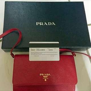PRADA 全新紅色 肩包/手拿包防~刮材質