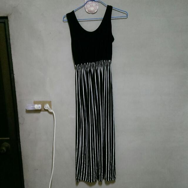 豎條紋長洋裝