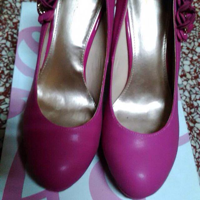 🎉(降價促銷)桃紅立體花邊高更鞋