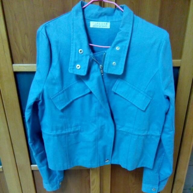 韓版淺藍短版外套