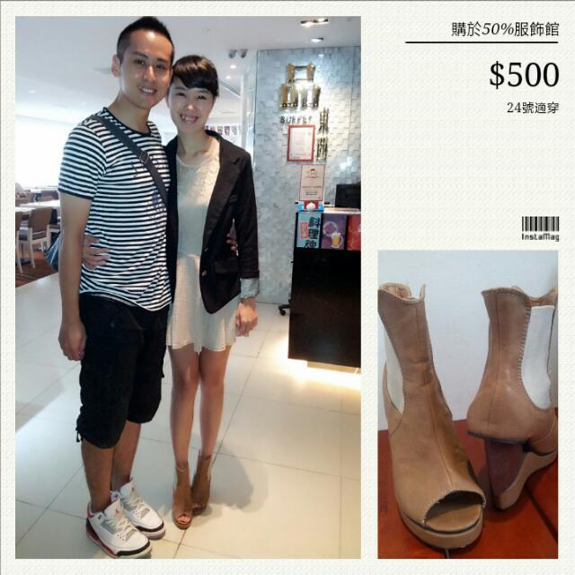 不撞鞋 二手50%造型裸靴 $300拋售