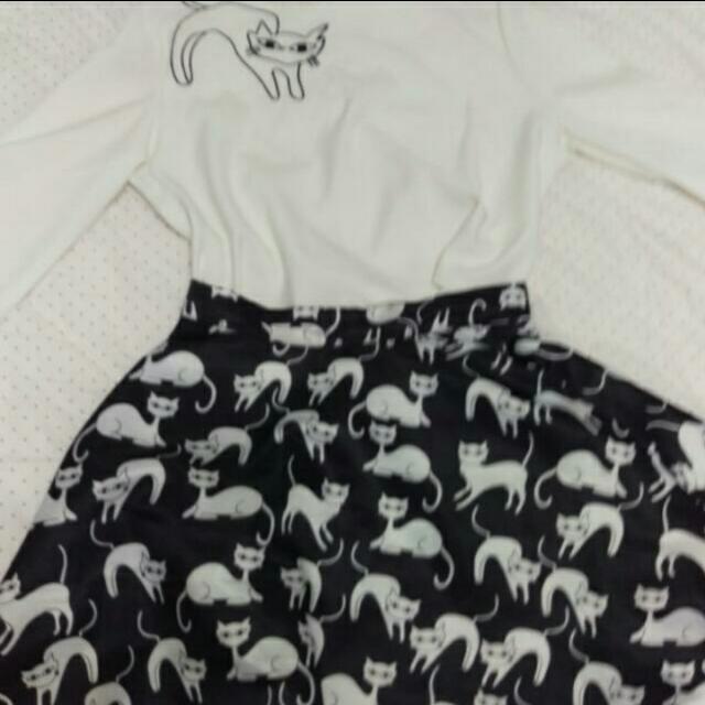 降價250含運 貓咪甜美可愛套裝 初秋必備 1衣1裙全新
