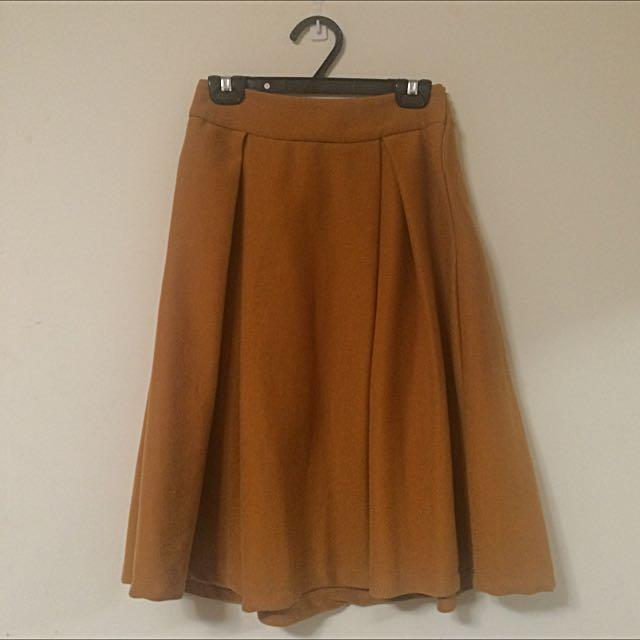 氣質及膝裙 高貴橘黃色