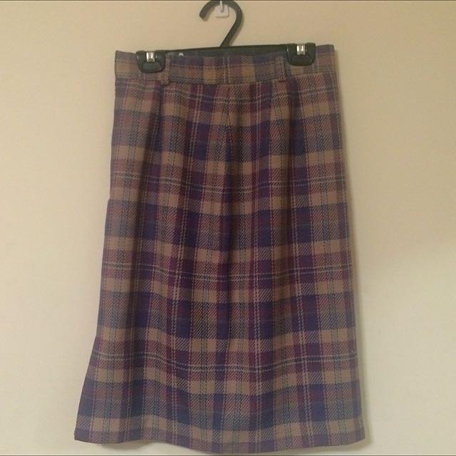 古著 蘇格蘭裙(及膝)
