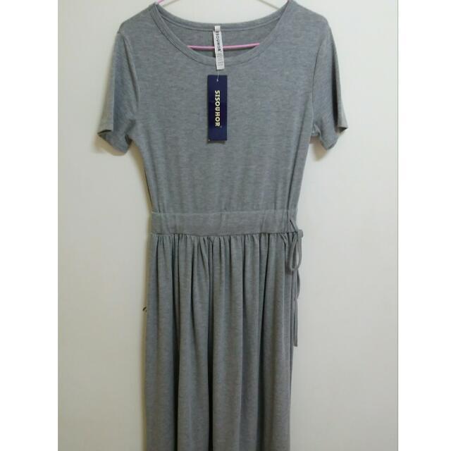 全新 灰色長洋裝