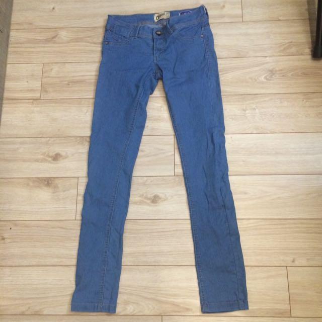 天藍刷色牛仔褲 正韓