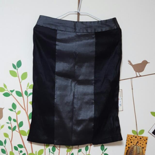 專櫃 銀黑拼接及膝裙