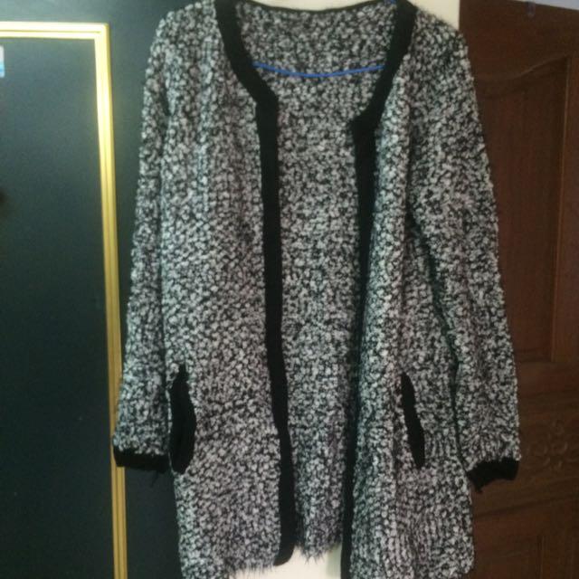 冬季 保暖 混色拼接針織外套