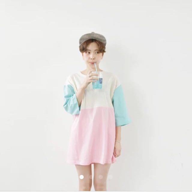 拼接 撞色 七分袖 粉色 粉藍 素 T恤