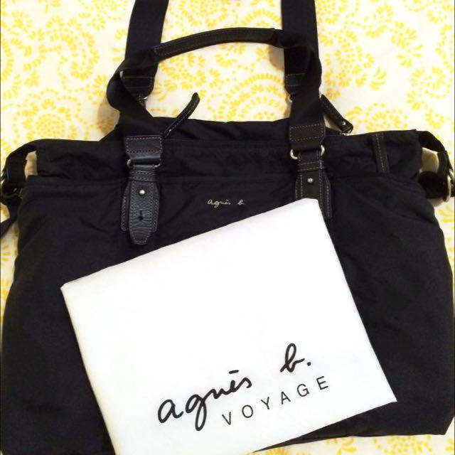 (二手商品)agnes b .環釦輕便尼龍旅行袋(小/黑)