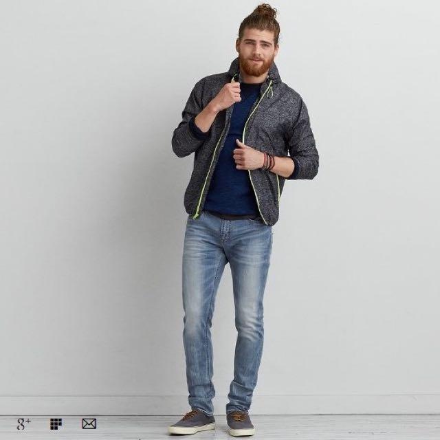 American Eagle (AE) 男 合身牛仔長褲 0119-3589 Light Crackle 30 x 36