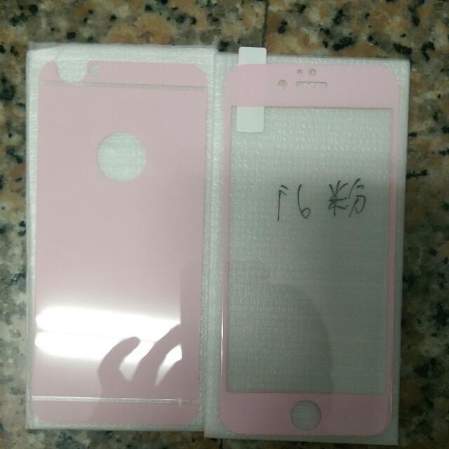 Apple iPhone6(4.7)粉色前後鋼化玻璃膜