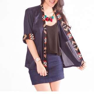 Cardigan with Ethnic Pattern by Felinin