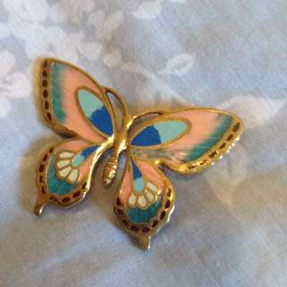 Gold tipped butterfly brooch