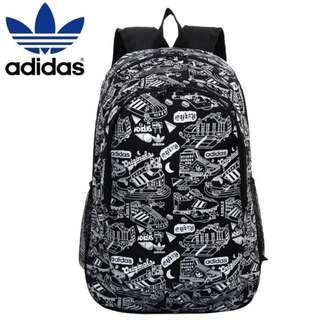 Adidas 愛迪達後背包 旅行背包 滿版圖 黑/白