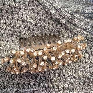 Antique gold diamonte Bridal hair clip