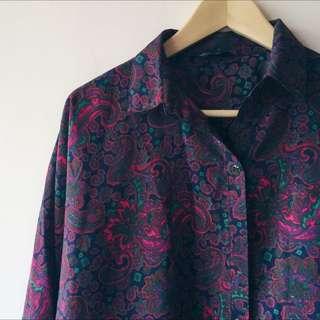 深紫紅變形蟲飛鼠袖襯衫