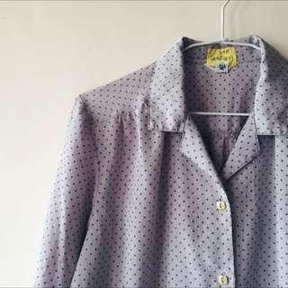 古著紫色綠點點七分袖襯衫