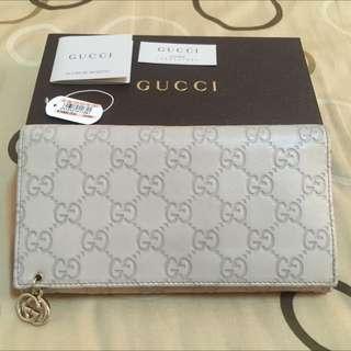 8成新真品 Gucci全皮壓紋長夾