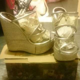 🚚 銀色透明厚底契型鞋