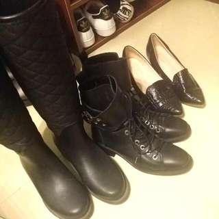 【二手清倉】Zara 軍靴 雨靴 低跟尖頭鞋