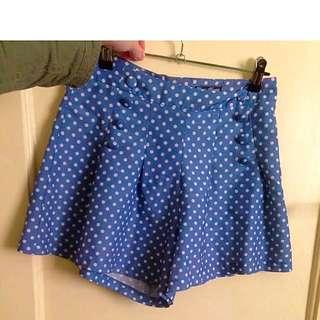 Size 8 Poka Dot Pleat Shorts Blue And White High Waisted