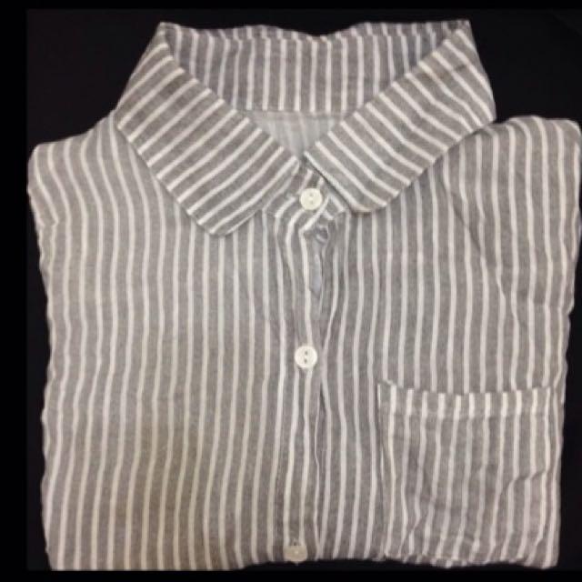 雪紡黑白條紋襯衫