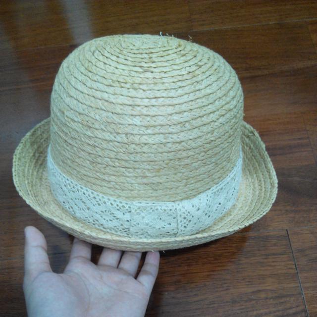 蕾絲蝴蝶結圓頂草帽(二手)