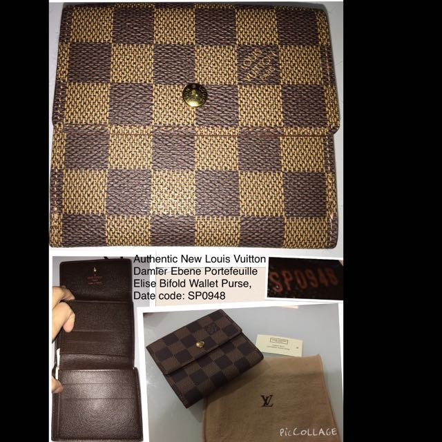 7193ac86b6bc RESERVED-Authentic New Louis Vuitton Damier Ebene Elise Bifold ...